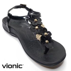 Vionic Julie Thong Sandal Black Patent Gold